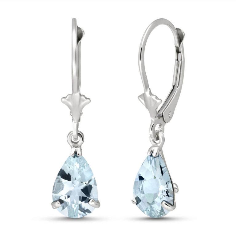 Aquamarine Belle Drop Earrings in 9ct White Gold
