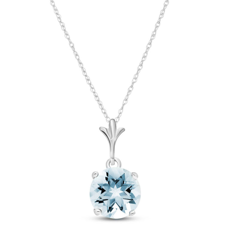 Round Aquamarine Drop Pendant Necklace in 9ct White Gold
