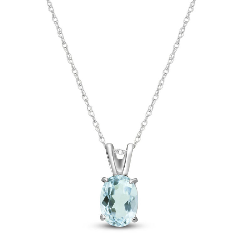 Oval Cut Aquamarine Pendant Necklace in 9ct White Gold
