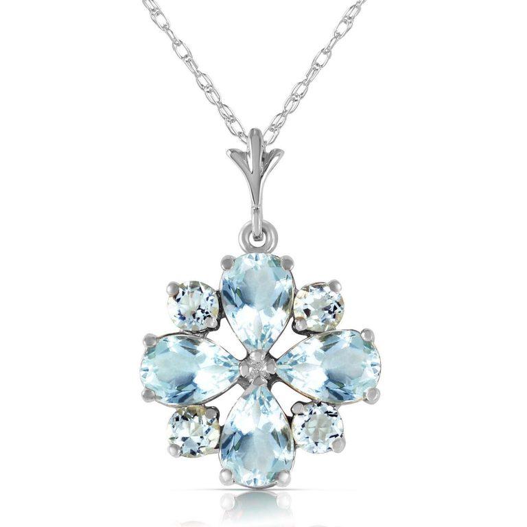 Aquamarine Sunflower Pendant Necklace 2.43 ctw in 9ct White Gold