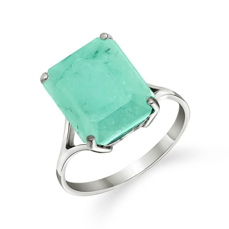 Emerald Auroral Ring in 9ct White Gold