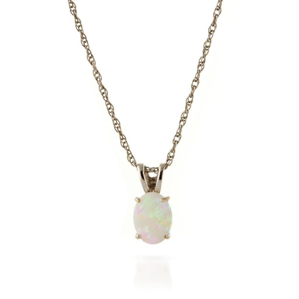 Opal Oval Pendant Necklace in 9ct White Gold