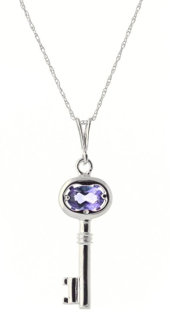 Tanzanite Key Charm Pendant Necklace in 9ct White Gold