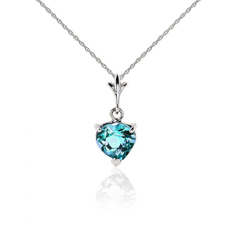 Blue Topaz Heart Pendant Necklace 1.15 ct in 9ct White Gold