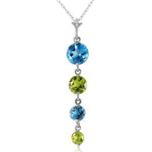 Blue Topaz & Peridot Pendant Necklace