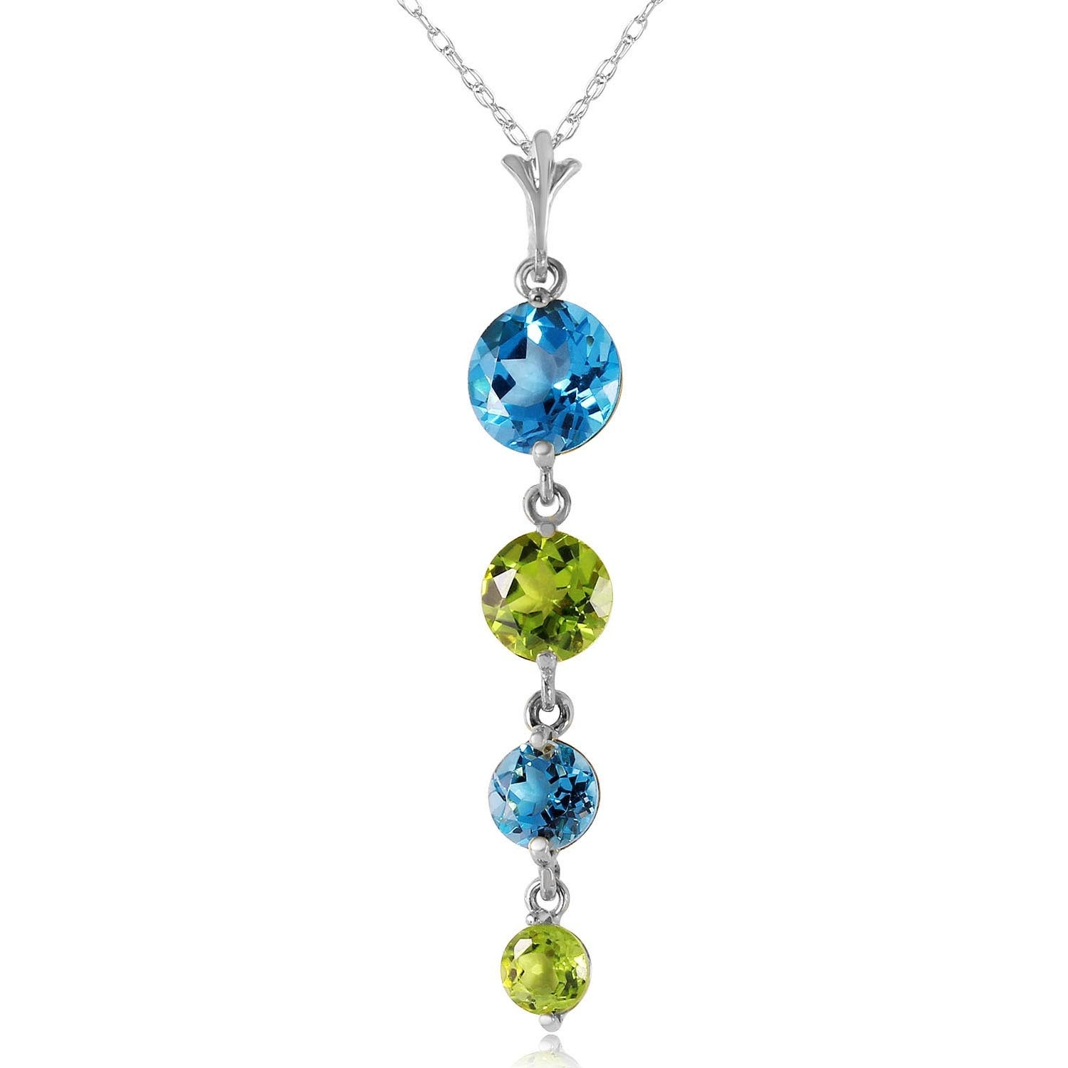 Blue Topaz & Peridot Pendant Necklace