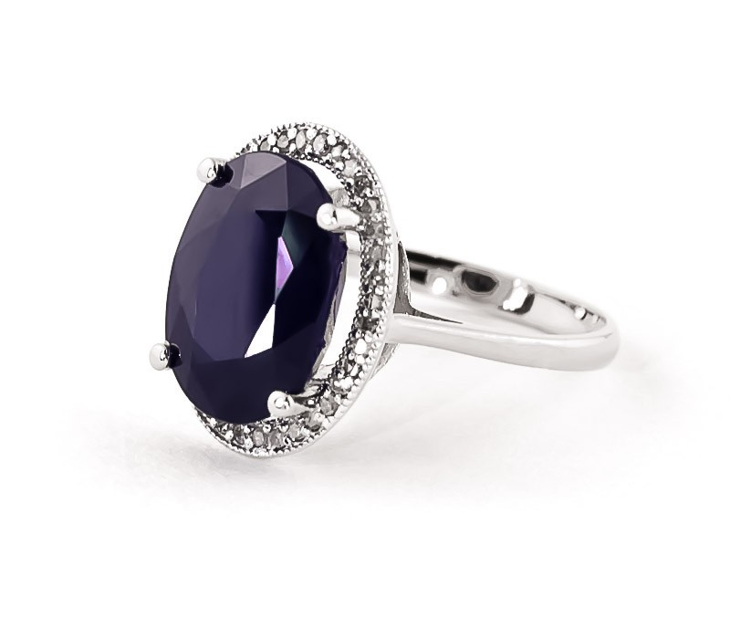 Sapphire Halo Ring 6.58 ctw in 9ct White Gold