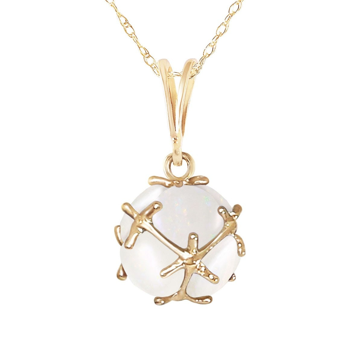 Opal Infinity Stone Pendant Necklace 2 ctw in 9ct Gold