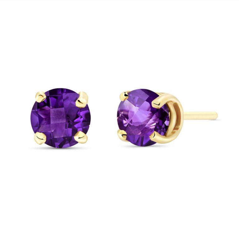 Amethyst Stud Earrings 0.95 ctw in 9ct Gold
