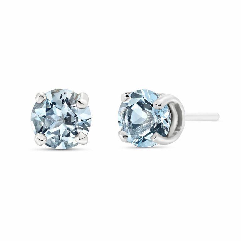 Aquamarine Stud Earrings 0.95 ctw in 9ct White Gold
