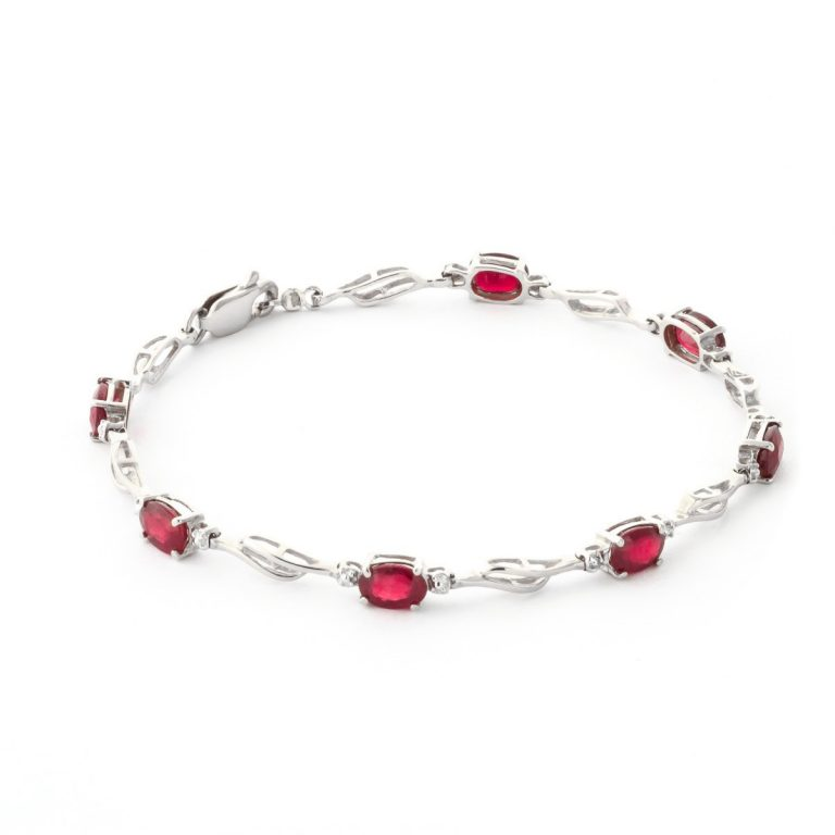 Ruby & Diamond Classic Tennis Bracelet in 9ct White Gold