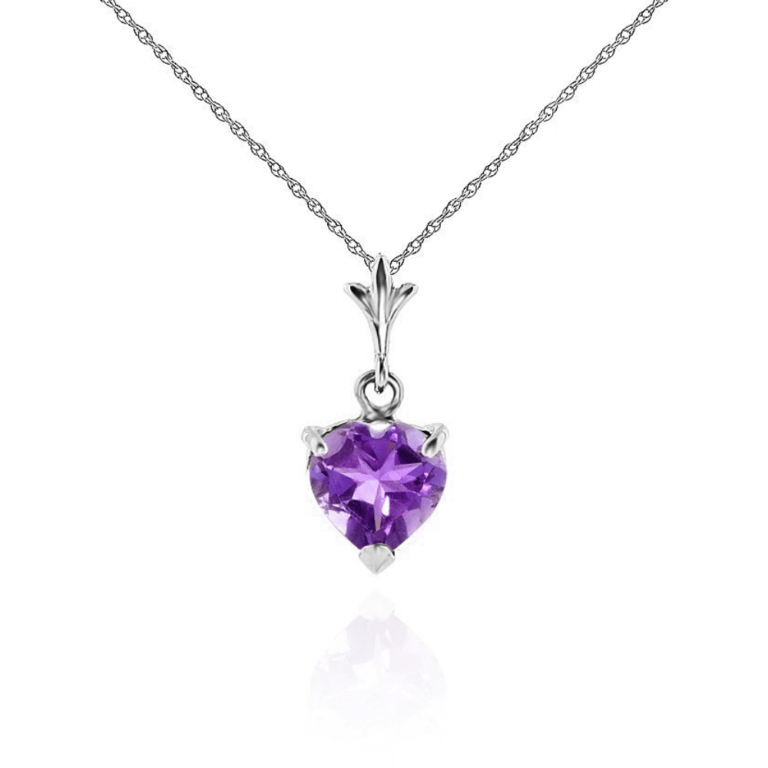 Heart Shaped Amethyst February Birthstone Pendant Necklace In Sterling Silver