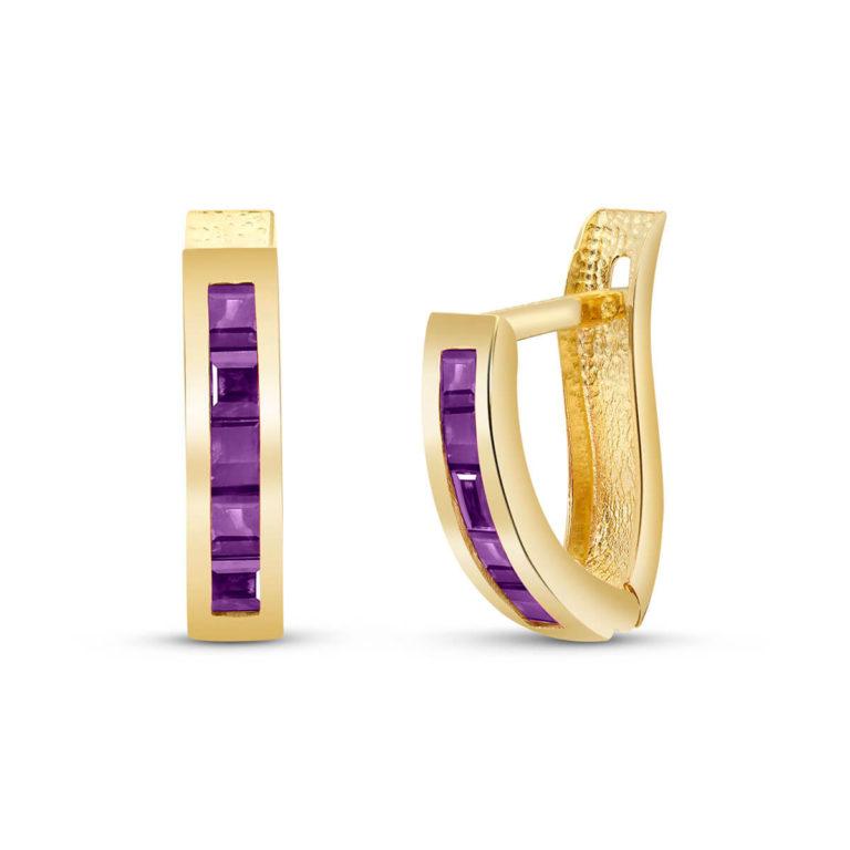 Amethyst Acute Huggie Earrings in Gold
