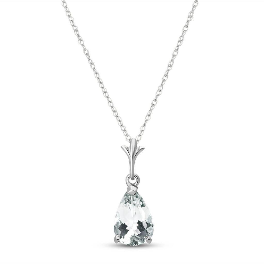 Aquamarine Bella Pendant Necklace in White Gold