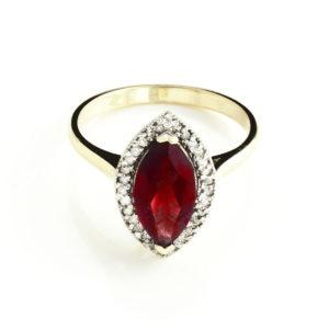 January Birthstone Garnet Halo Ring in Gold