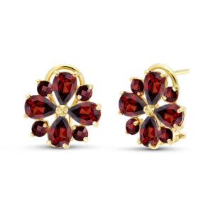January Birthstone Garnet Sunflower Stud Earrings in Gold
