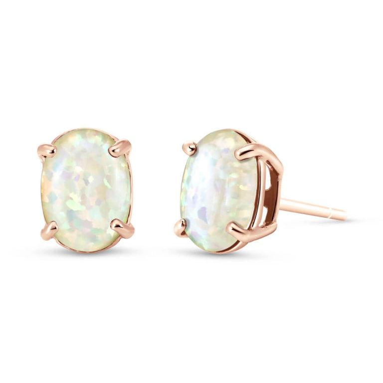 Opal Stud Earrings in Rose Gold