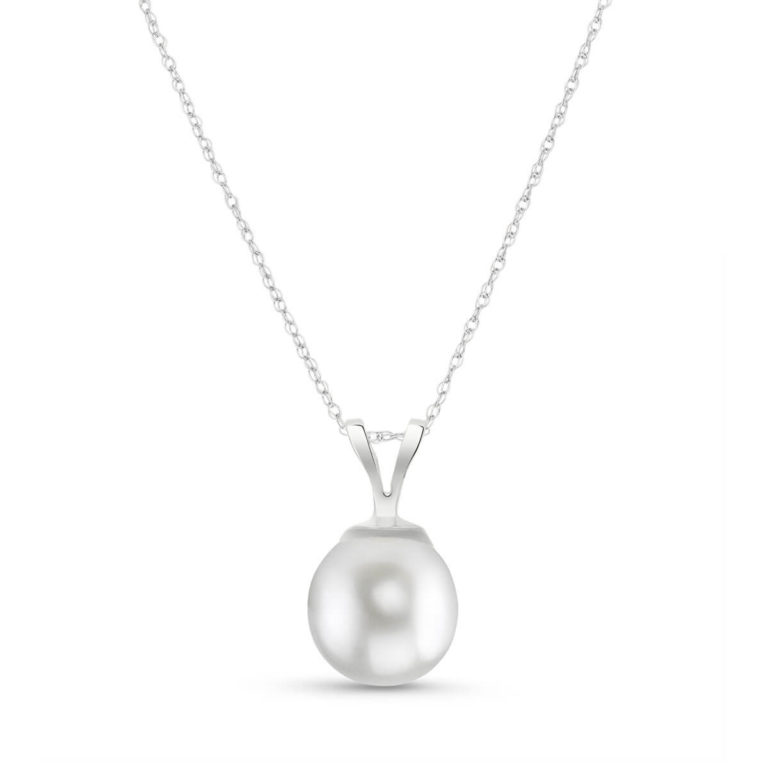 Round Cut Pearl Pendant Necklace in White Gold