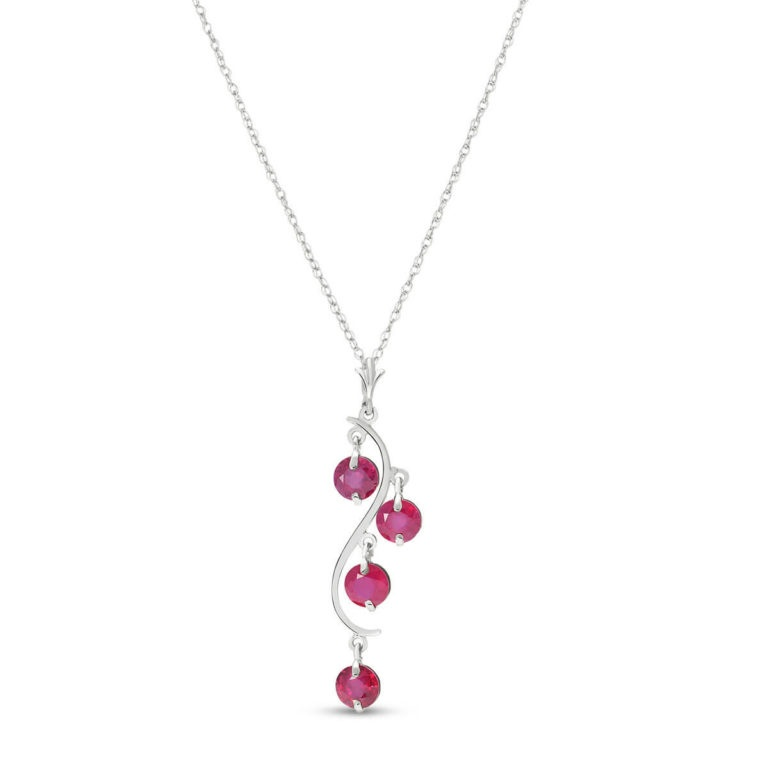 Ruby Dream Catcher Pendant Necklace in White Gold