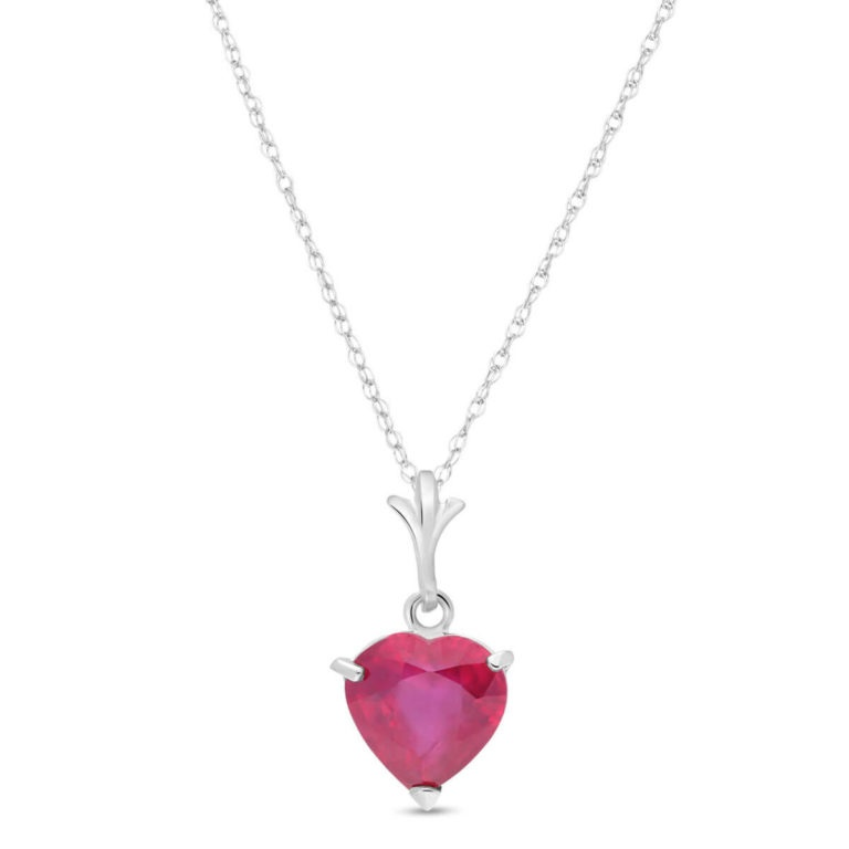 Ruby Heart Pendant Necklace in White Gold