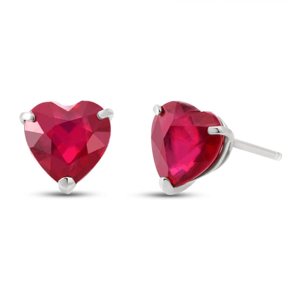 Ruby Heart Stud Earrings in White Gold