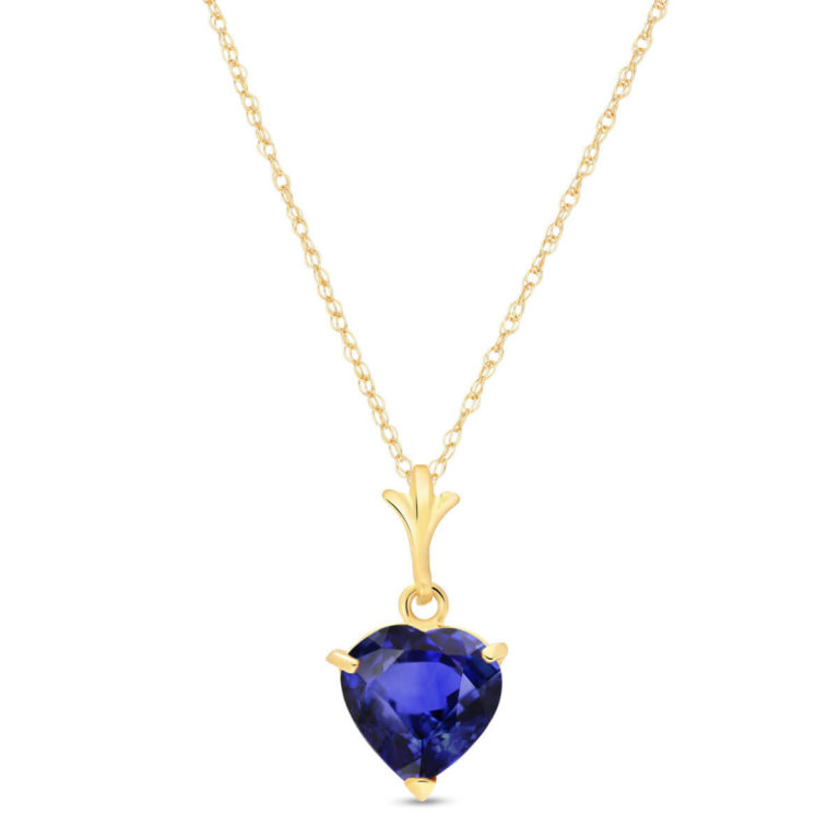 Sapphire Heart Pendant Necklace in Gold