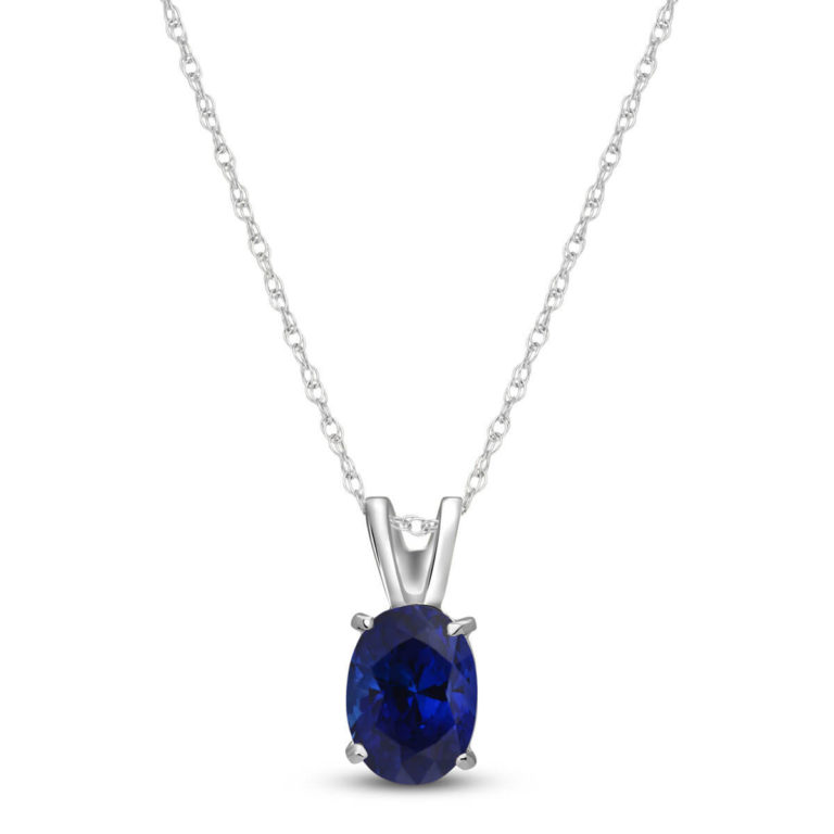 Sapphire Oval Pendant Necklace in White Gold
