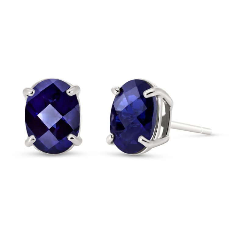 Sapphire Stud Earrings in White Gold