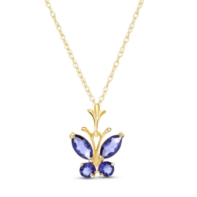 Tanzanite Butterfly Pendant Necklace in Gold