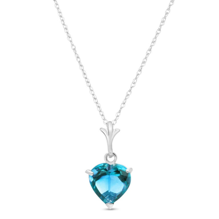 Blue Topaz Heart Pendant Necklace in White Gold