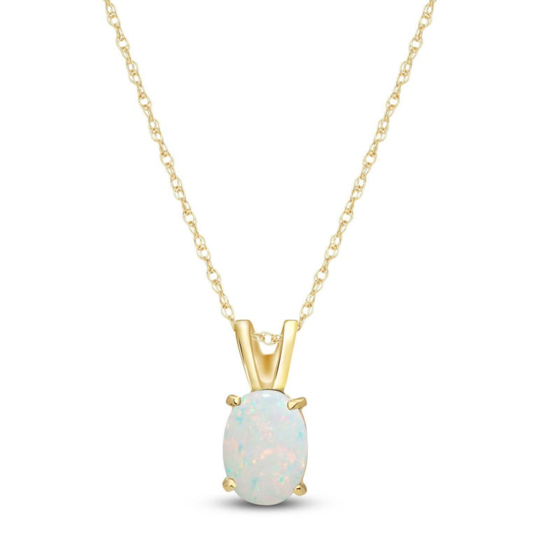 Opal Oval Pendant Necklace in 9ct Gold - £169
