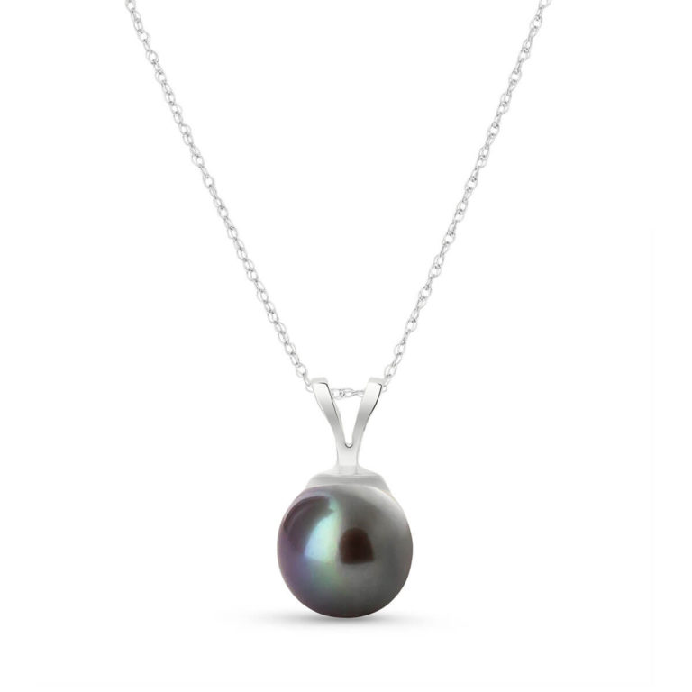 Round Cut Black Pearl Pendant Necklace in 9ct White Gold