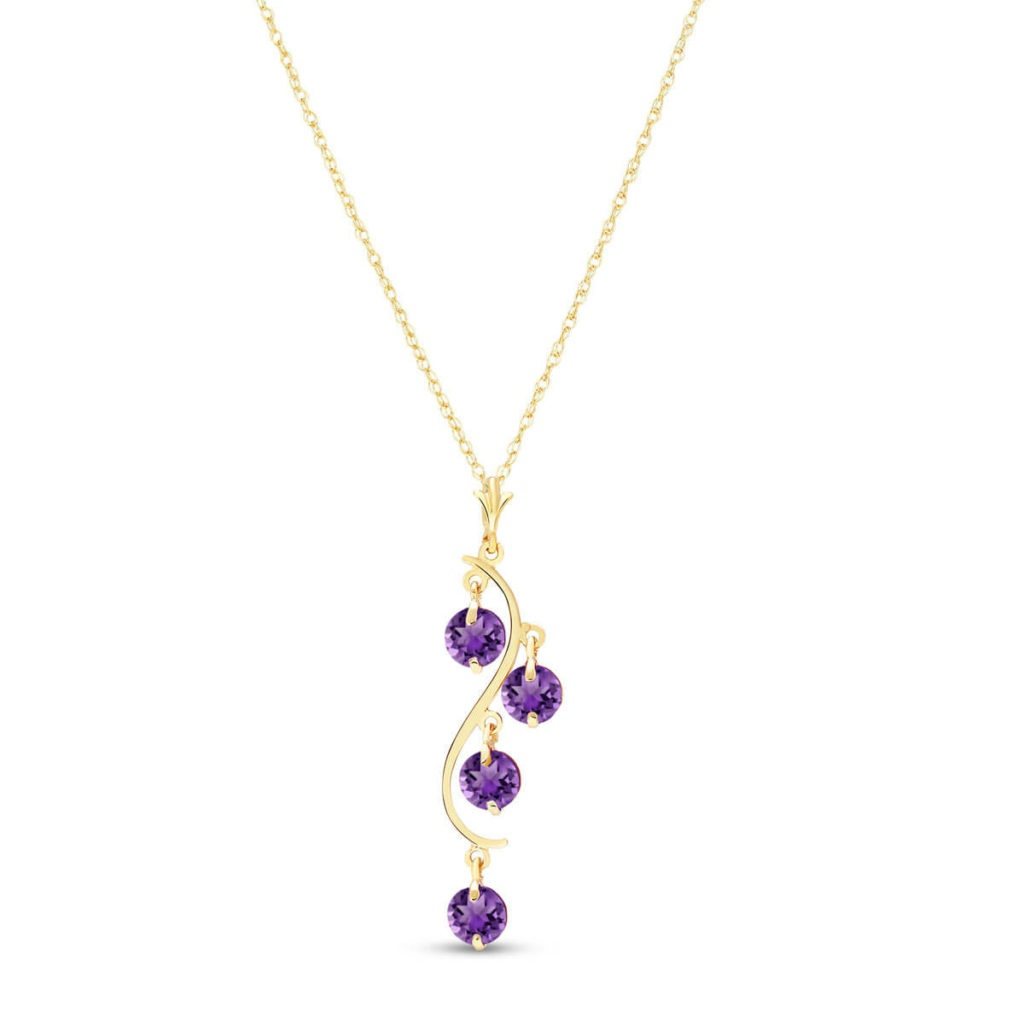 Amethyst Dream Catcher Pendant Necklace in 9ct Gold