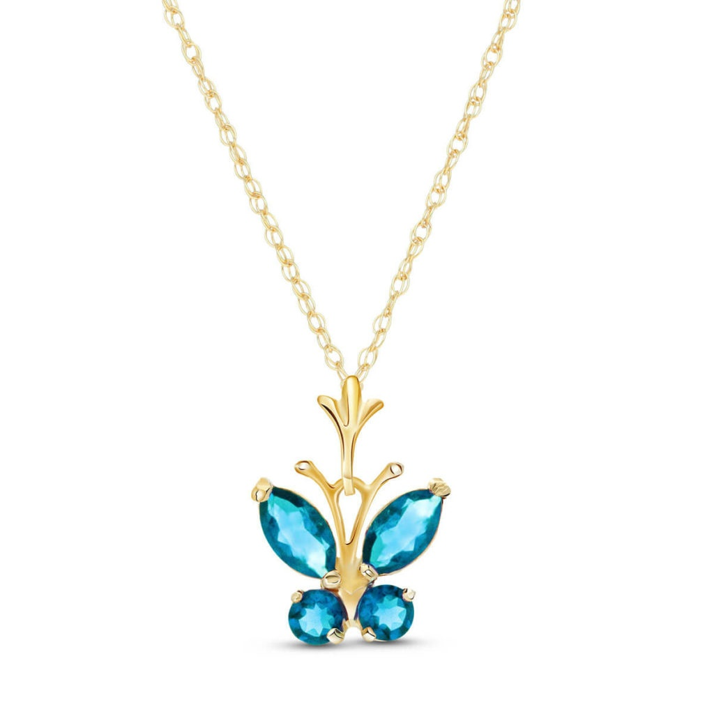 Blue Topaz Butterfly Pendant Necklace in 9ct Gold