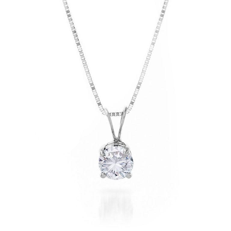 Round Cut Diamond Pendant Necklace 0.5 ct in 9ct White Gold