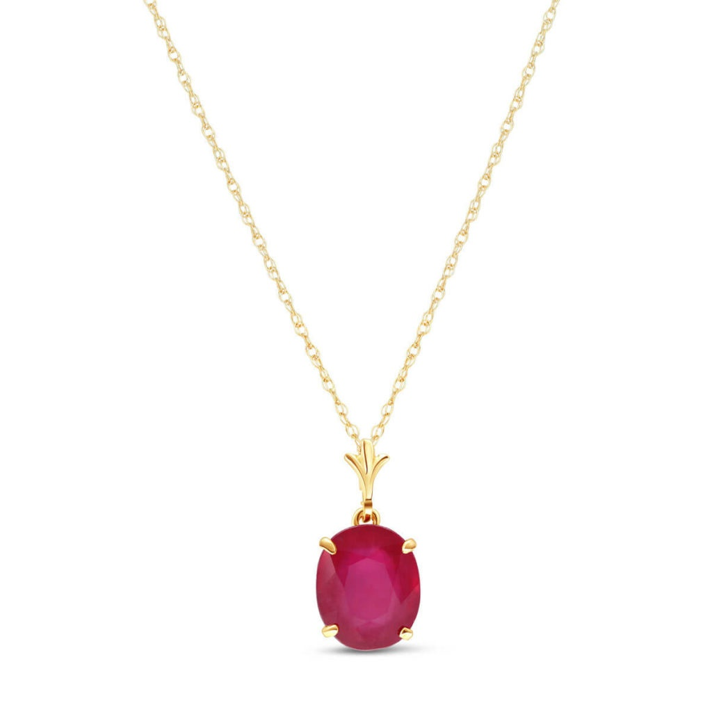 Ruby Oval Pendant Necklace in 9ct Gold