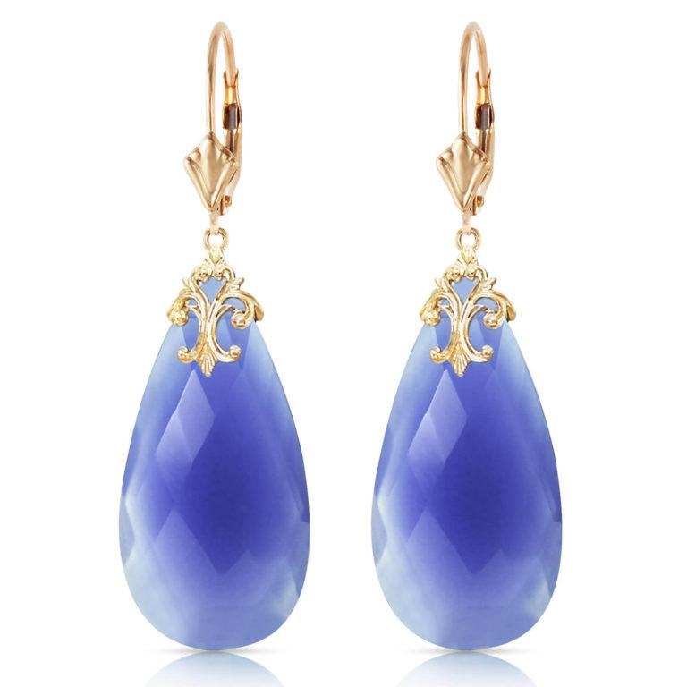 Blue Briolette Cut Chalcedony Earrings 33 ctw in Gold