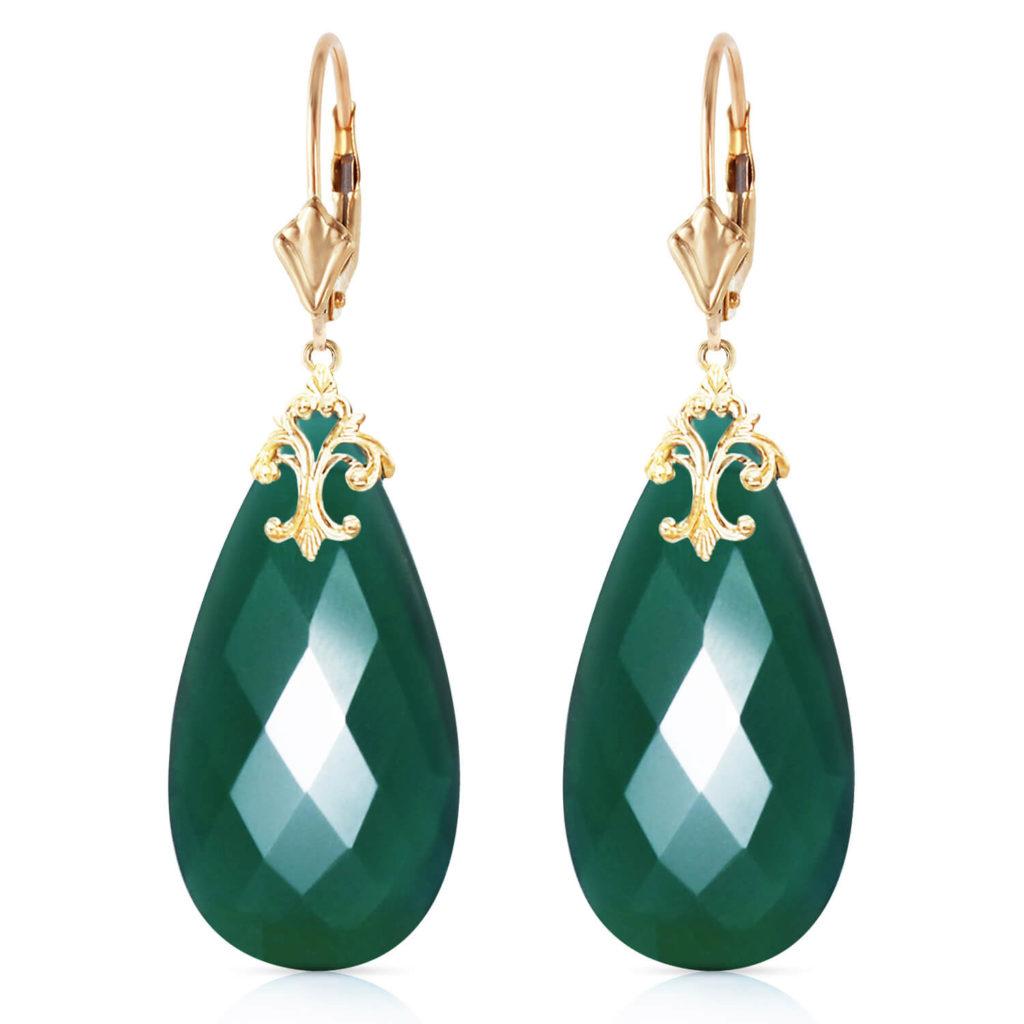 Green Briolette Cut Chalcedony Earrings 34 ctw in Gold