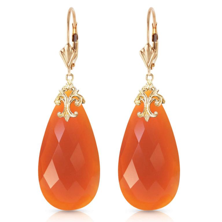Orange Briolette Cut Chalcedony Earrings 35.2 ctw in Gold
