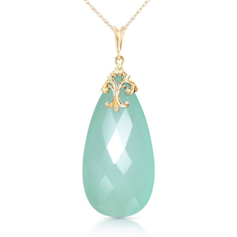 Mint Green Briolette Cut Chalcedony Pendant Necklace 17.8 ct in Gold