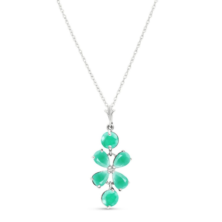 Emerald Blossom Pendant Necklace 3.15 ctw in 9ct White Gold