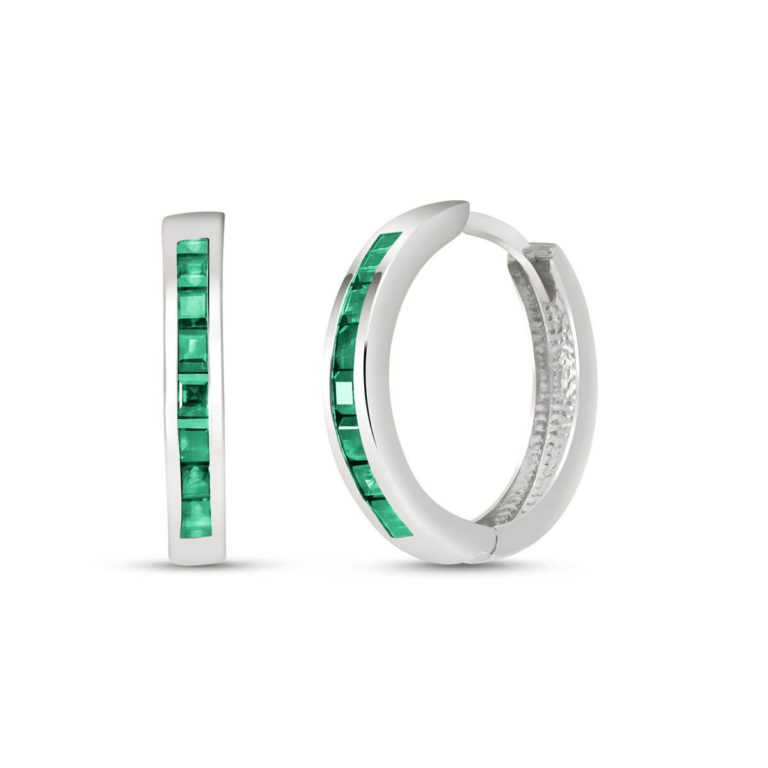 Emerald Huggie Earrings 1.85 ctw in 9ct White Gold