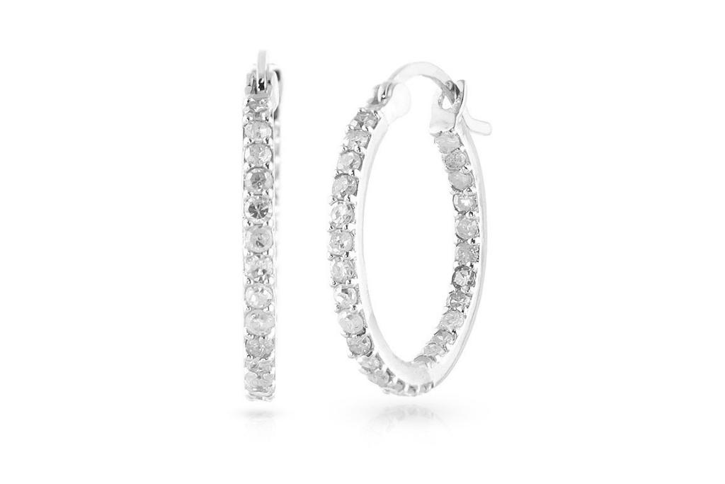 Best Diamond & Gemstone Earrings - Diamond Hoop Earrings 0.75 ctw in 9ct White Gold