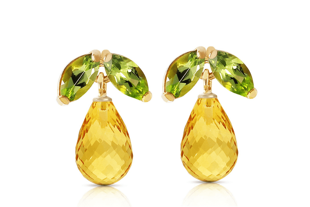 Citrine & Peridot Snowdrop Stud Earrings in 9ct White Gold