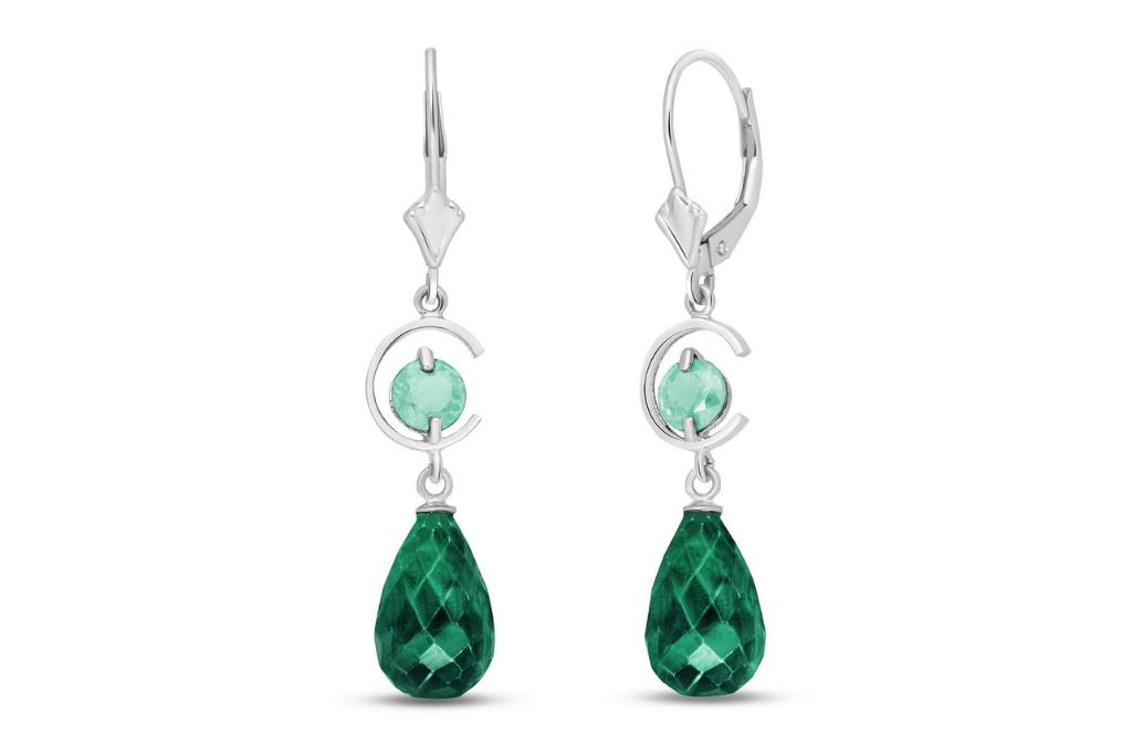 Best Diamond & Gemstone Earrings - Emerald Drop Earrings 18.6 ctw in 9ct White Gold