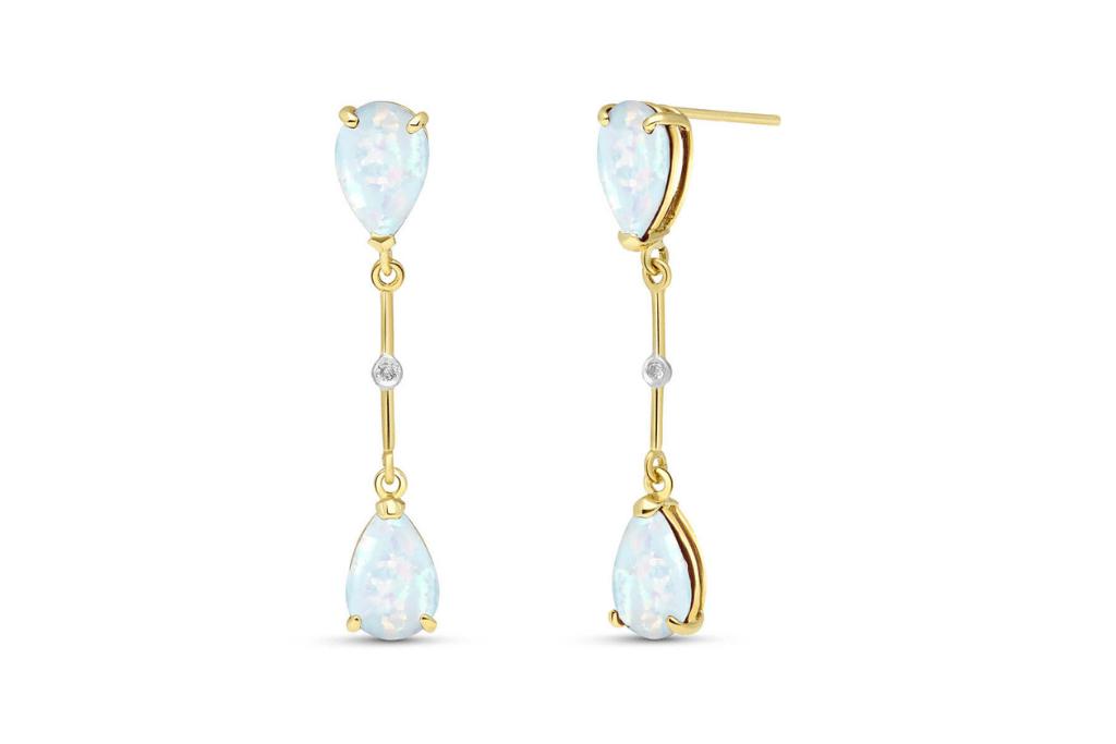 Opal Drop Earrings 3.01 ctw in 9ct Gold