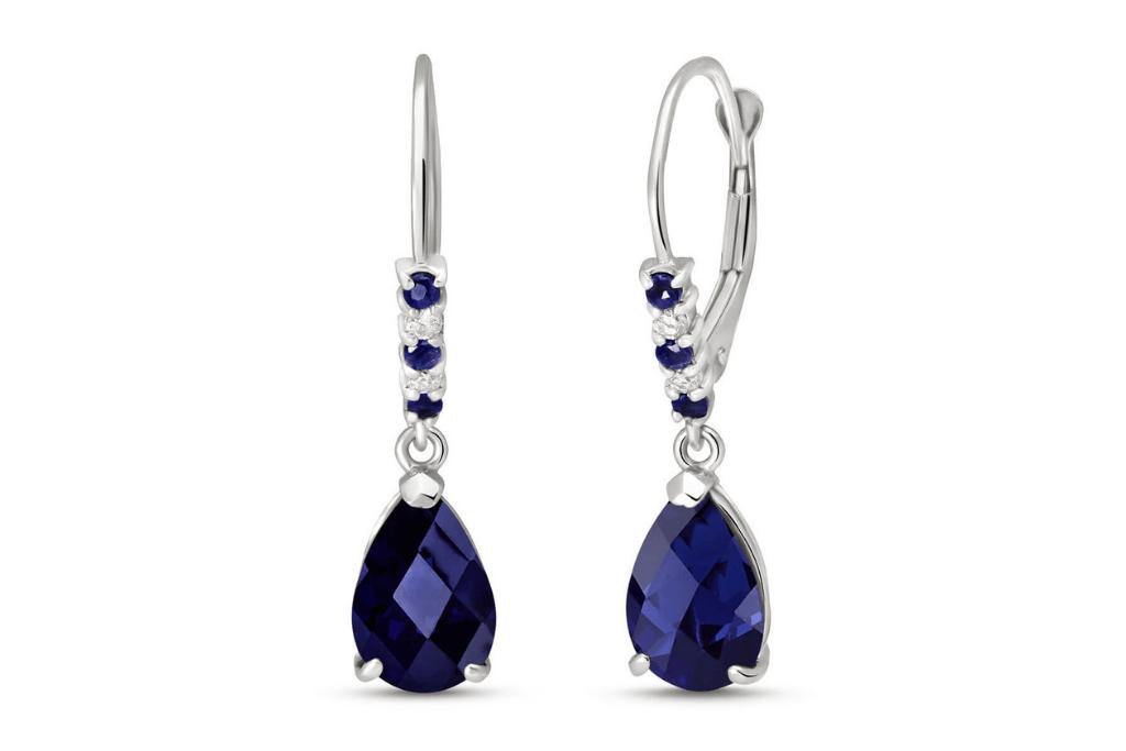Sapphire & Diamond Belle Drop Earrings in 9ct White Gold