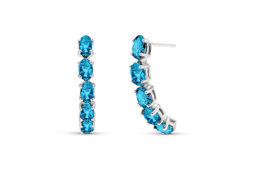 Best Diamond & Gemstone Earrings - Blue Topaz Linear Stud Earrings 2.5 ctw in 9ct White Gold