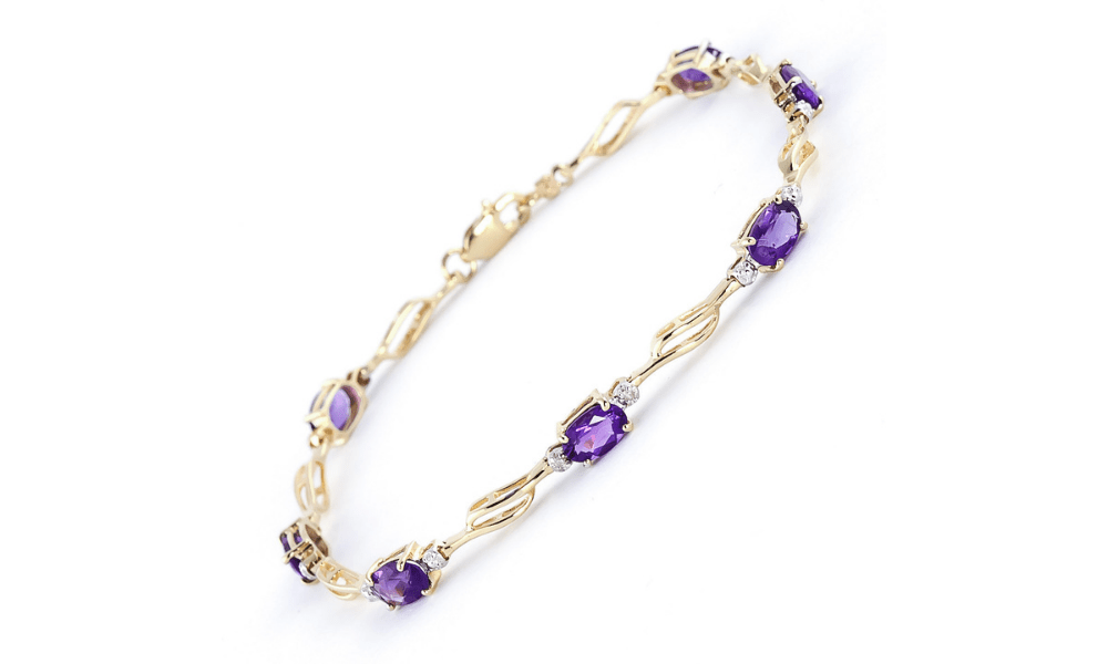 Amethyst & Diamond Classic Tennis Bracelet in 9ct Gold