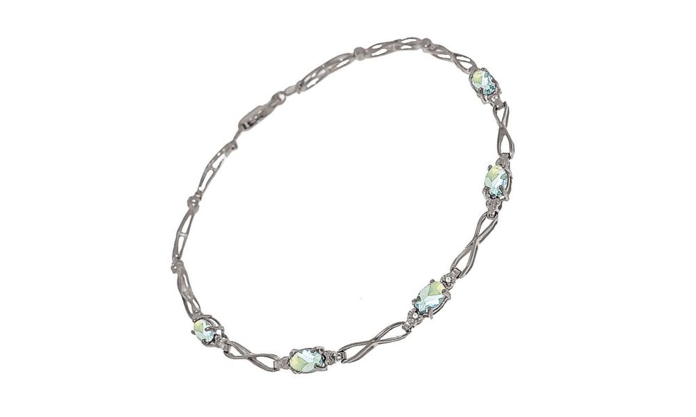 Aquamarine & Diamond Evert Tennis Bracelet in 9ct White Gold